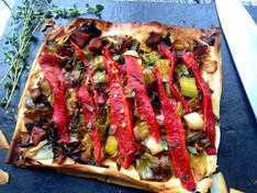 Caramelised Leek, Chorizo & Pepper Tart