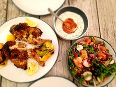 Gizzi's Griddled Baby Chicken with Fattoush, Yoghurt Sauce & Rose Harissa