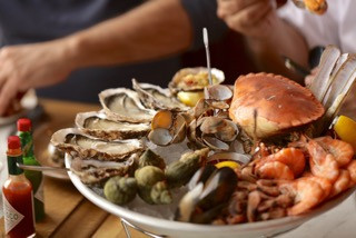Photo credit: Johnny Stephens Photography. The seafood platter at Wright Bros