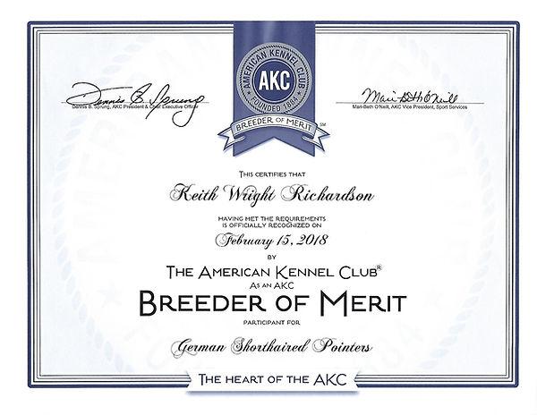 Breeder Of Merit Certificate
