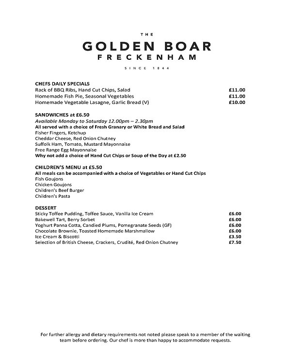 Page Two of The Golden Boar Menu