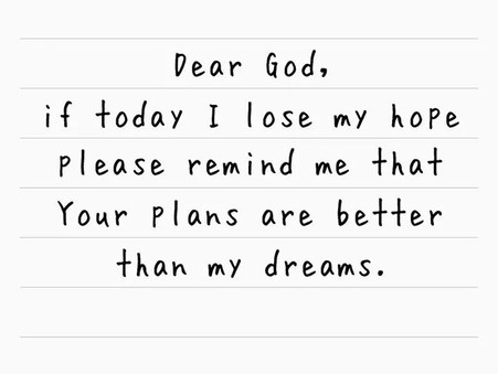 Tell God your Plans ...