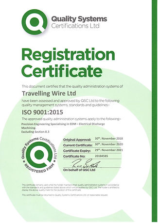 Travelling Wire Ltd - 9001 Cert20201109.