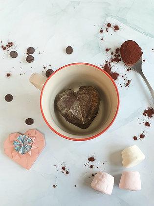 Hot chocolate love heart bomb