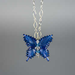 Wheat Butterfly & Crystal Pendant