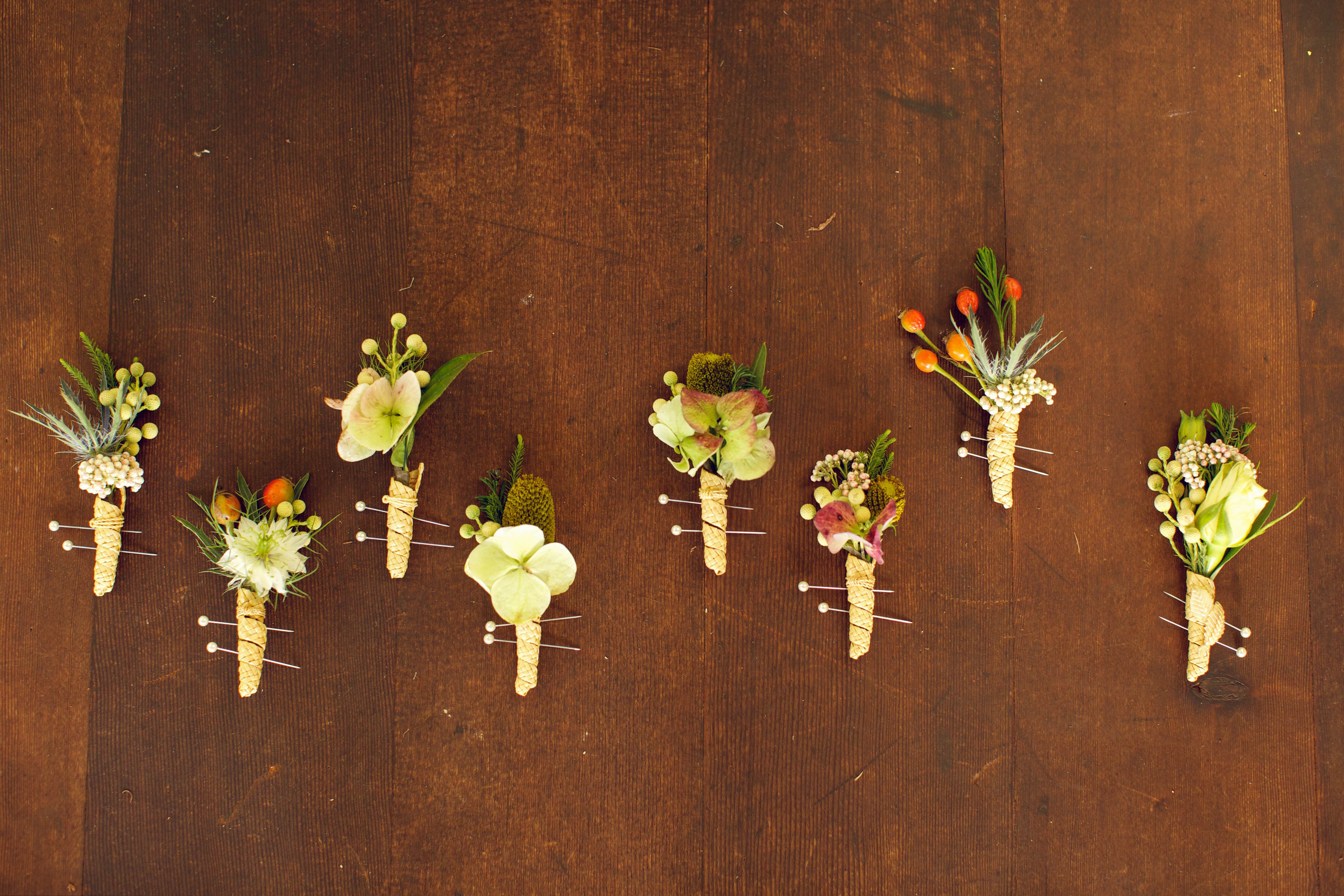 Wheat Boutonnieres & Fresh Flowers