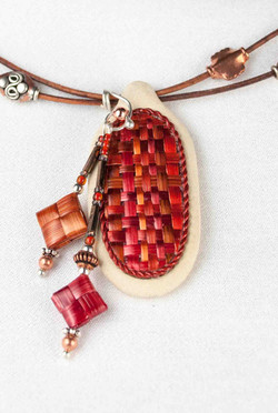 Woven Dyed Wheat Pendant