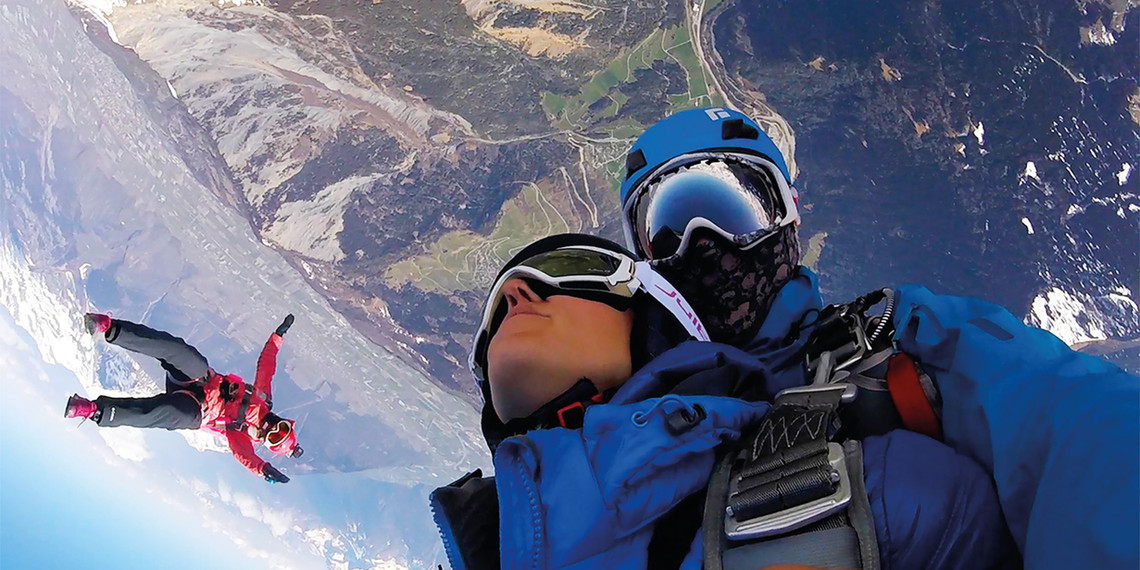 Parachute tandem d'hélicoptère Verbier