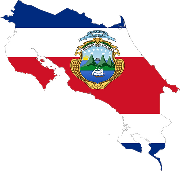Map and Color of Costa Rica