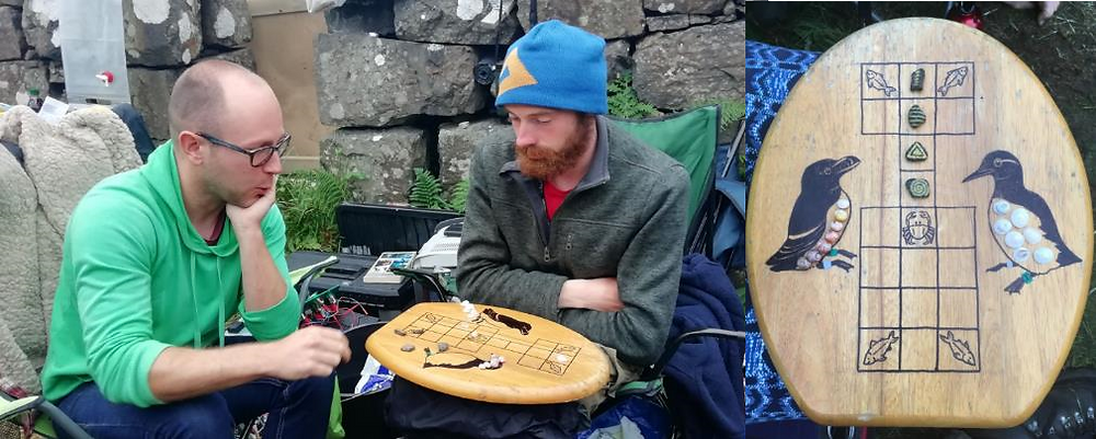 Left: A tense game of Ur played during a downpour ©Lila Buckingham, right: our fantastic board, dice and shell pieces made by Chris and Lila ©Sophie Bennett