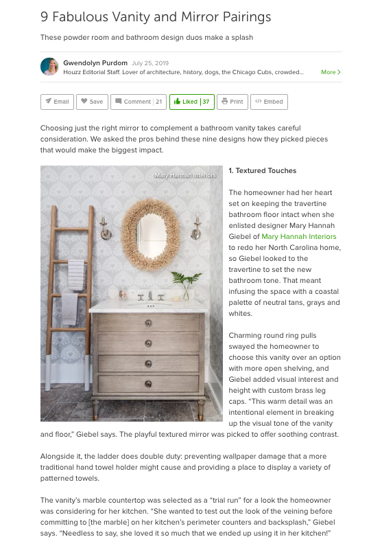 Powder Room by Mary Hannah Interiors Featured on Houzz