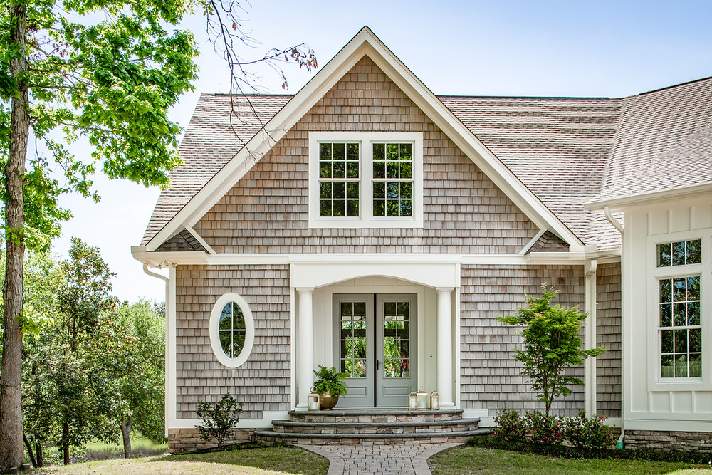 Dream Cottage with a View: Home Tour, Front Exterior and Entryway Mary Hannah Interiors Blog