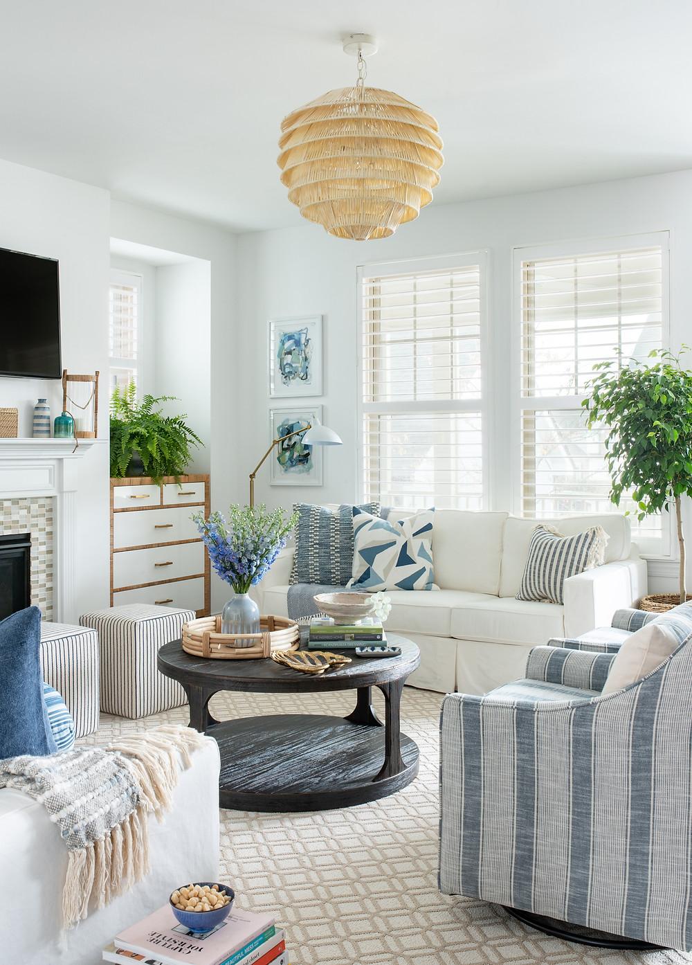 Mary Hannah Interiors Home Tour Living Room Mid-mod Coastal Casa