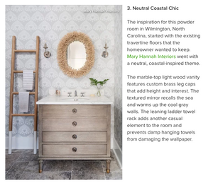 "MHI Spotlighted in ""The 10 Most Popular Powder Rooms on Houzz"" + Mary Hannah Interiors + Studio Blog"