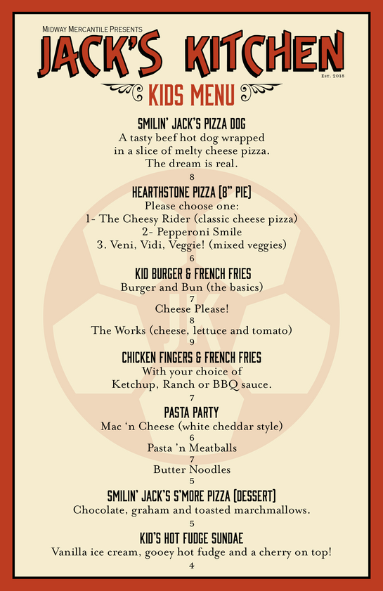 "Midway Mercantile's ""Jack's Kitchen"" Kids Menu"