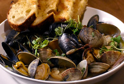 Coconut Bathed Mussels and Clams