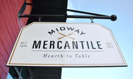 Midway Mercantile's inviting sign