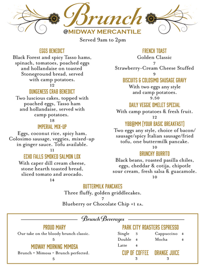 Midway Mercantile Brunch Menu
