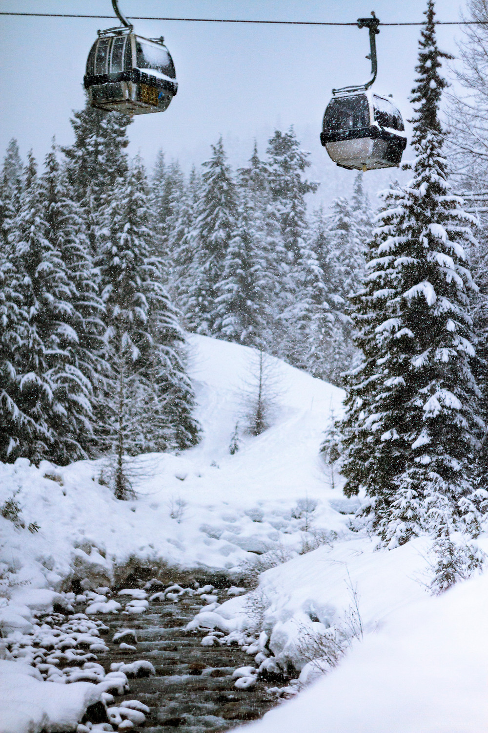 Lots of Fresh Snow Made For A Surreal Image Of The Whistler/Blackcomb Gondola