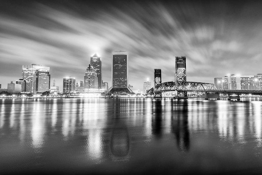 Night skyline of Jacksonville, Florida..