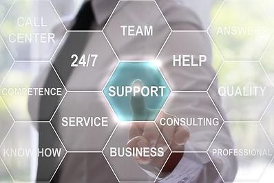 Businessman presses support button on vi