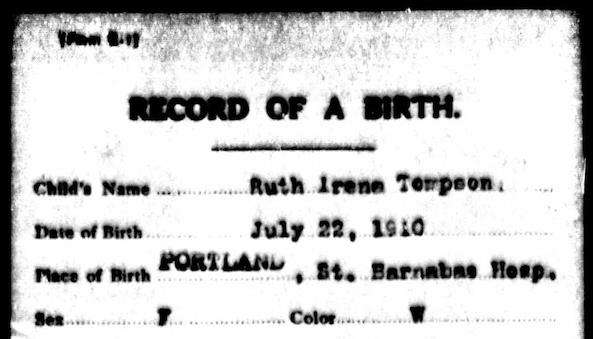 Ruthie's Birth Certificate