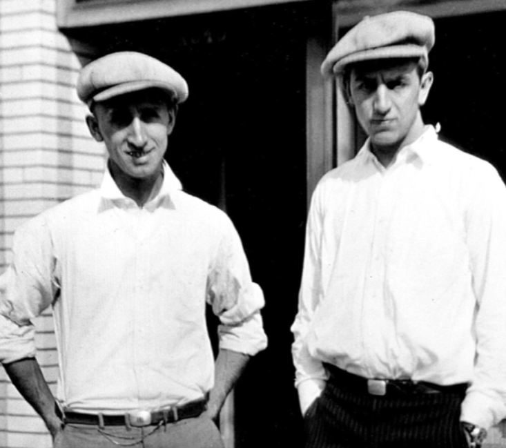 Roy and Walt Disney outside the early Disney Brothers Studio