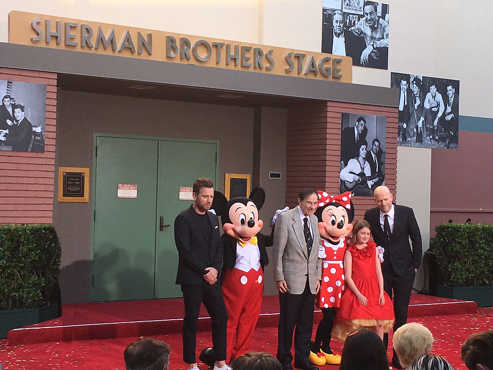Christopher Robin lead Ewan McGregor, Mickey Mouse, Richard Sherman, Minnie Mouse, and the film's director, Marc Forster, and his daughter