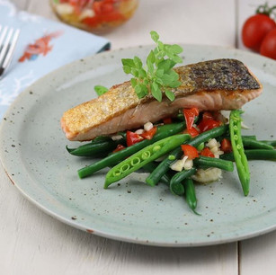 Seared salmon with a tomato & anchovy dr