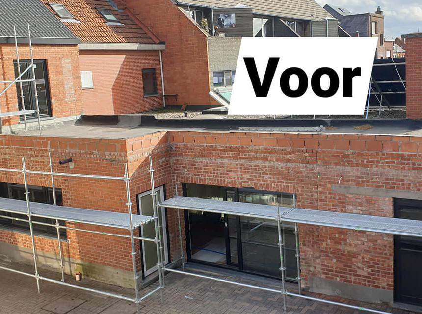 renovatie achtergevels met witte crepi in Lebbeke