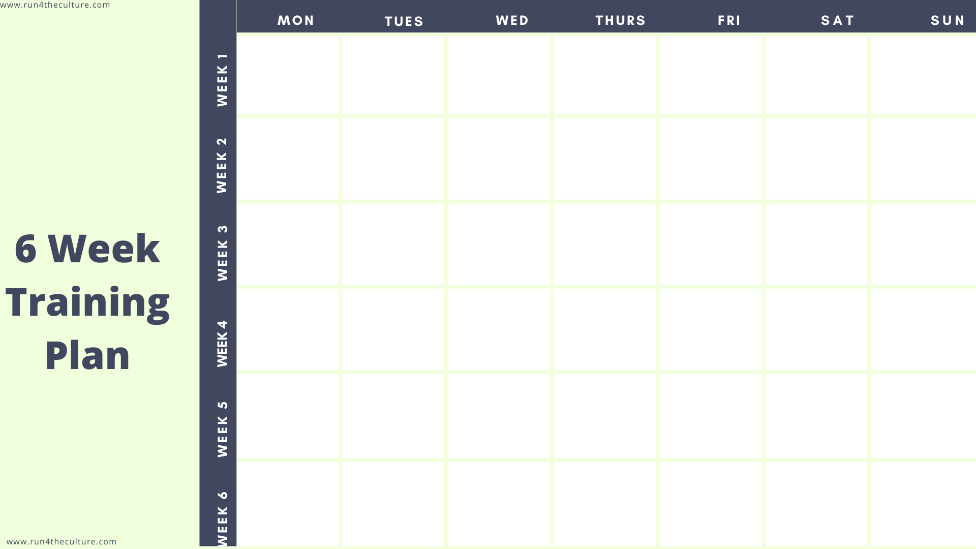 six week 5K Training Plan template