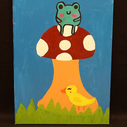 Frog on Mushroom