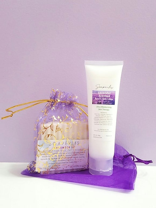 Gift Set of Lavender Bar Soap and Lavender Hand Body Lotion
