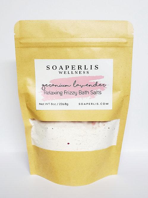 Geranium Lavender Relaxing Frizzy Bath Salts