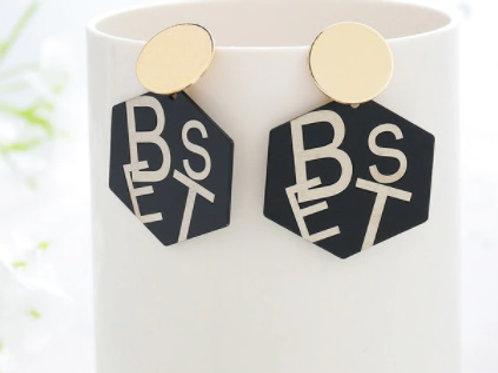 Trendy Style Golden Black Earrings - BEST