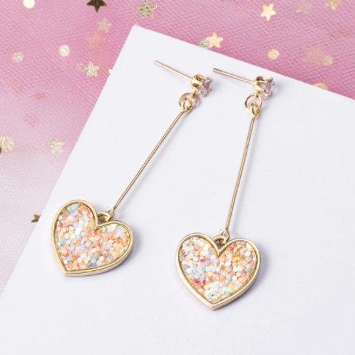 Stunning Korean Dangle Drop Heart Earrings