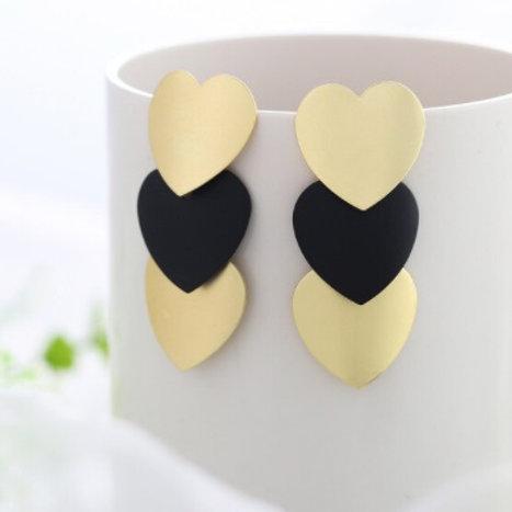Trendy Style Golden Black Dangle Drop Heart-Shaped Earrings