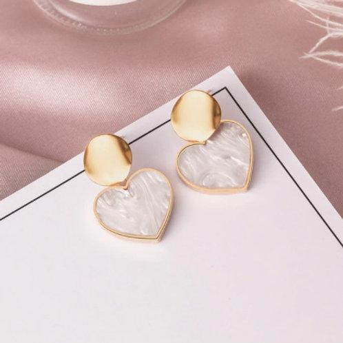 Stunning Korean Heart-Shaped White Earrings