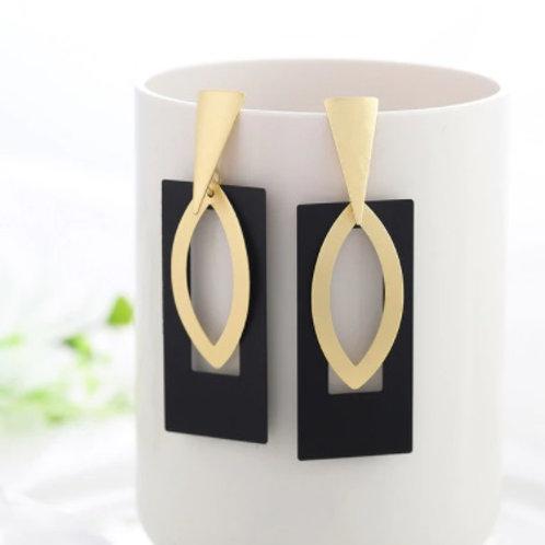 Trendy Style Golden Black Earrings