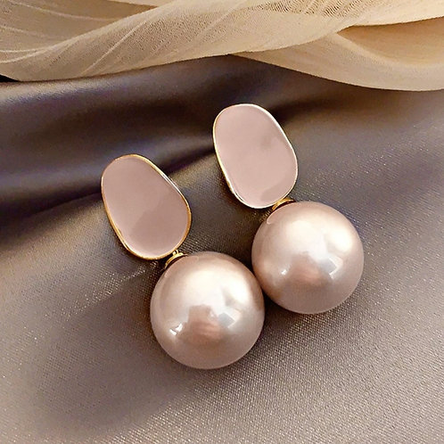 Exquisite Pink Pearl Pendant Earrings