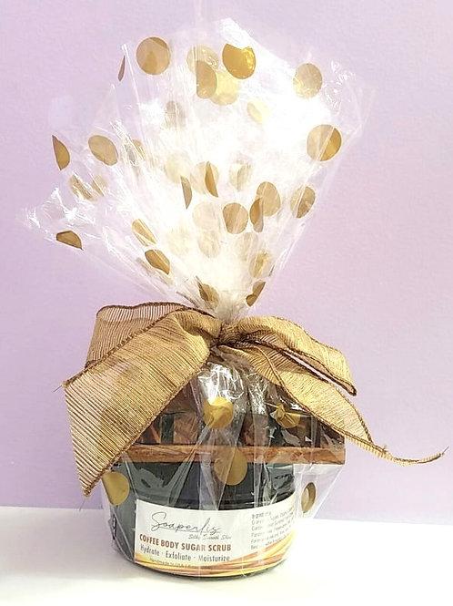 Gift Set C of coffee vanilla soap, organic coffee sugar scrub and a soap dish.