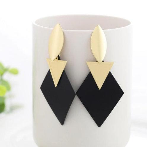 Trendy Style Golden Black Dangle Drop Earrings