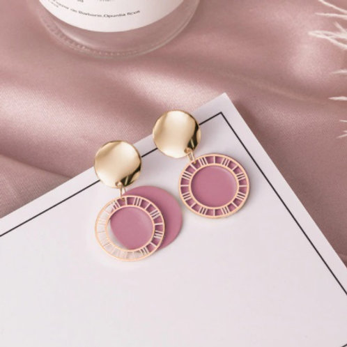 Stunning Vintage Round Acrylic Drop Pink Earrings