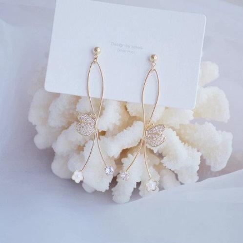 Elegant Long Style Butterfly Earrings