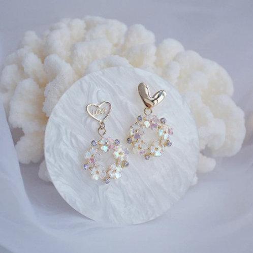 14k Real Gold Asymmetry Love Letter Earrings