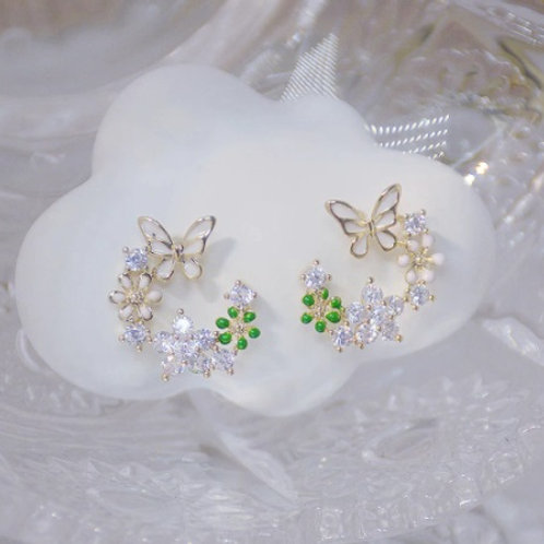 Exquisite Flower Butterfly Pendant Earrings