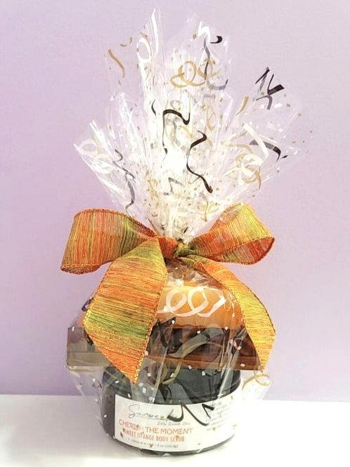 Gift Set of Sweet Orange Soap, Sweet Orange Body Sugar Scrub and Soap Dish
