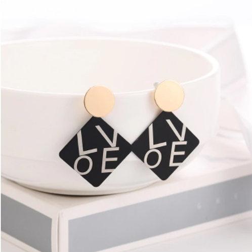 Trendy Style Golden Black Earrings -LOVE