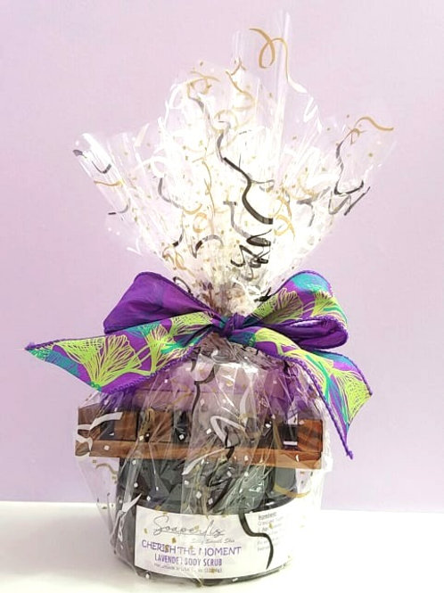 Gift Set A of Lavender soap, organic sugar scrub and a soap dish.