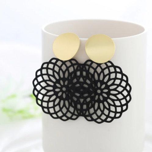 Trendy Style Golden Black Flower-Petal Earrings